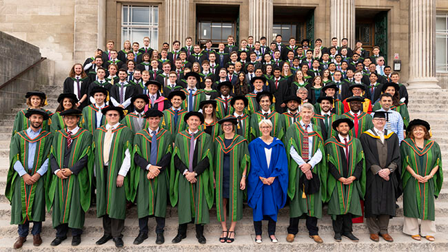 university graduation group photo